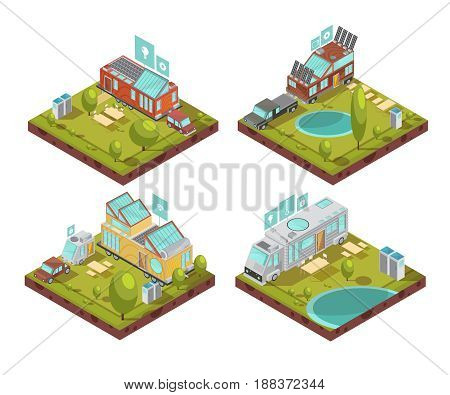 Isometric compositions with mobile house, roof solar panels, technologies icons at campsite in summertime isolated vector illustration