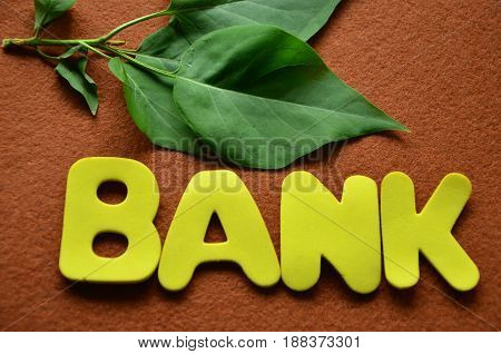 word bank on a  abstract  brown background