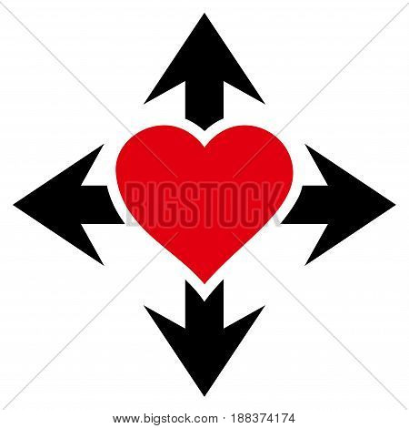 Expand Love Heart flat icon. Vector bicolor red and black symbol. Pictograph is isolated on a white background. Trendy flat style illustration for web site design, logo, ads, apps, user interface.