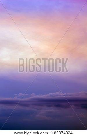 Sunset purple and multicolored sky cloudscape background