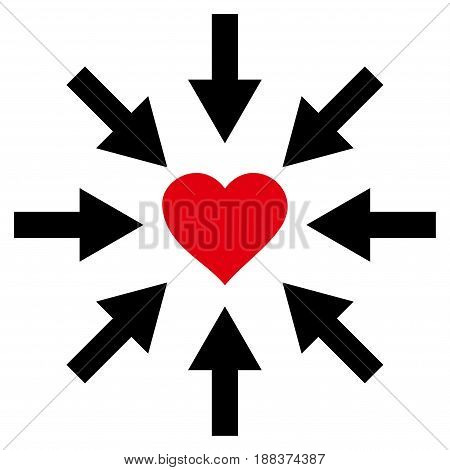 Impact Love Heart flat icon. Vector bicolor red and black symbol. Pictogram is isolated on a white background. Trendy flat style illustration for web site design, logo, ads, apps, user interface.