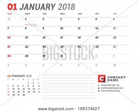 Calendar Template For 2018 Year. January. Business Planner Template. Stationery Design. Week Starts