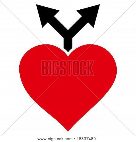 Love Variants flat icon. Vector bicolor red and black symbol. Pictogram is isolated on a white background. Trendy flat style illustration for web site design, logo, ads, apps, user interface.