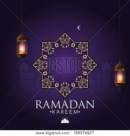Ramadan Lamp or Lantern on Islamic background. Vector Illustration frame for Ramadan Kareem Ramadan Mubarak.