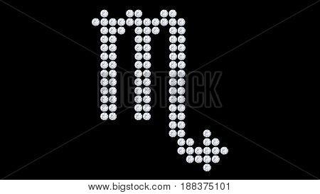 3D illustration isolated scorpio zodiac diamond stone on a black background