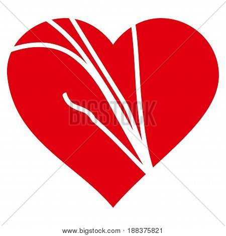 Damaged Love Heart flat icon. Vector red symbol. Pictogram is isolated on a white background. Trendy flat style illustration for web site design, logo, ads, apps, user interface.