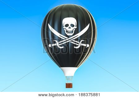 Hot air balloon with pirate flag 3D rendering