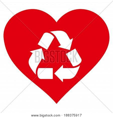 Love Recycle flat icon. Vector red symbol. Pictogram is isolated on a white background. Trendy flat style illustration for web site design, logo, ads, apps, user interface.