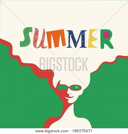 Summer time concept. Hand drawn fancy letters headline. Retro poster in pop art style. Beach season fun rest. Blondy girl. Beautiful young woman. Vector summer holiday vintage background