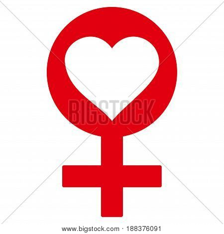 Woman Love Symbol flat icon. Vector red symbol. Pictograph is isolated on a white background. Trendy flat style illustration for web site design, logo, ads, apps, user interface.