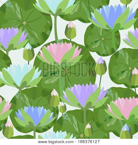 Color vector pattern with water lily flowers and green leaves on a light background.