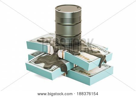 Oil production and trading concept. Oil barrel with dollar packs 3D rendering isolated on white background