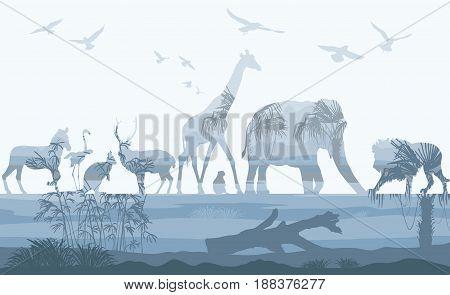 Vector Double exposure, Wild animals with nature background, wildlife concept