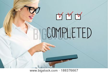 Completed Text With Business Woman