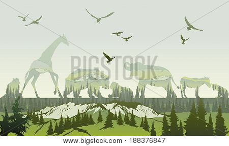Vector Double exposure, Wild animals and forest for your design, wildlife concept