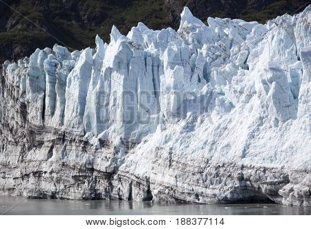 The edge of a glacier in Glacier Bay national park (Alaska).