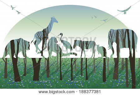 Vector Double exposure, Wild animals for your design, wildlife concept