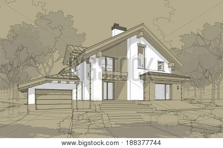 3D Render Sketch Of Modern Cozy House In Chalet Style