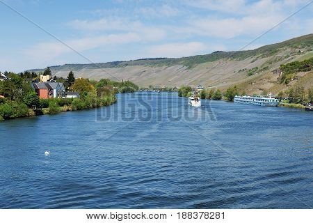Moselle River in Bernkastel-Kues with Wineyards in Spring