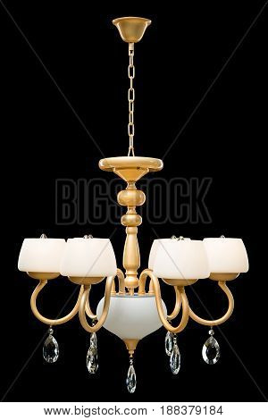 Modern Chandelier for interior decoration of the living room. White Chandelier isolated on black background. modern piece of interior for designers.