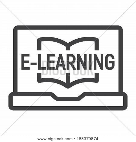 E learning line icon, education and online, vector graphics, a linear pattern on a white background, eps 10.