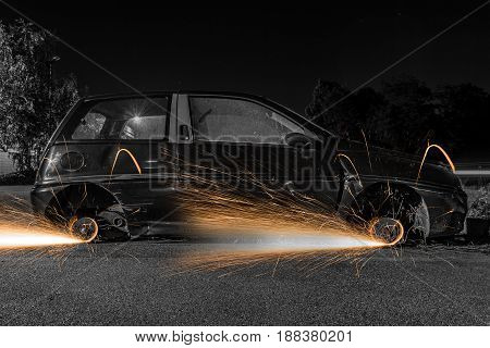 Car Wheels With Sparks