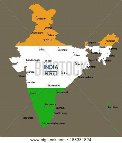 Vector flat styled map of India and its capitals of states and union territories