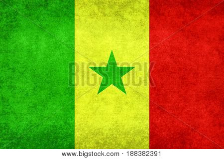 National flag of Senegal with distressed grungy textures