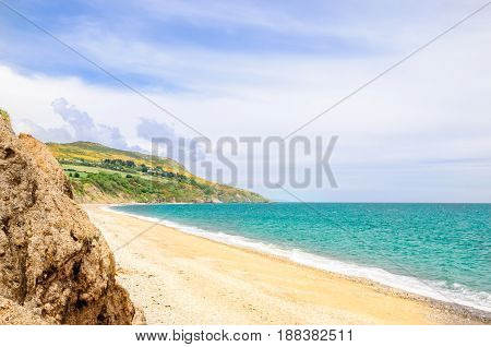 View on beautiful beach by Bray in Ireland