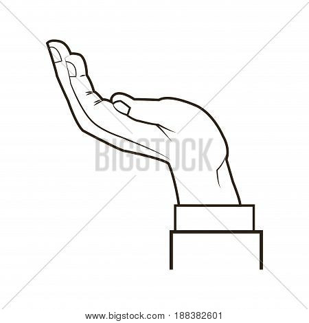 businessman hand receiving, help concept financial vector illustration