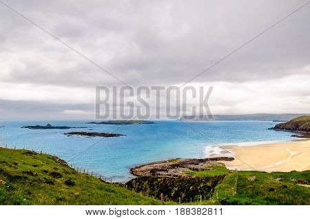 View on coastline and beach at the north of Scotland