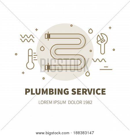Plumbing service concept design illustration and logo of heated towel rail