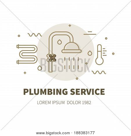 Plumbing service concept design illustration and logo of shower