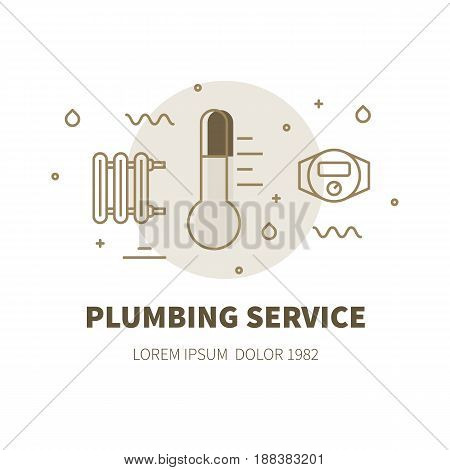 Plumbing service concept design illustration and logo of thermometer
