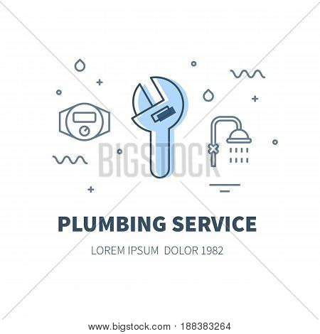 Plumbing service concept design illustration and logo of adjustable pipe wrench