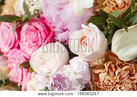 empty space decorating rose and mixed flowers sweet romantic concept.