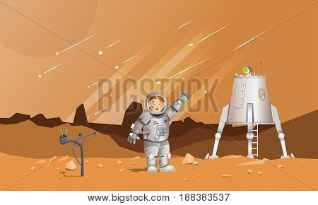 Astronaut on the planet Mars. Spaceship. Landing module. Stone terrain. Meteor Rain. The astronaut waves his hand.
