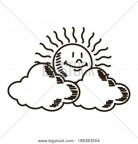 weather icon, sun with cloud design vector illustration