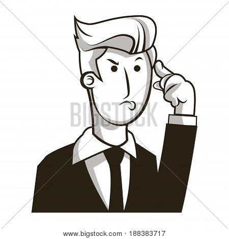 business man manager cartoon character image vector illustration