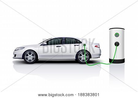 illustration of electric white sport sedan recharching at station with reflection on white background