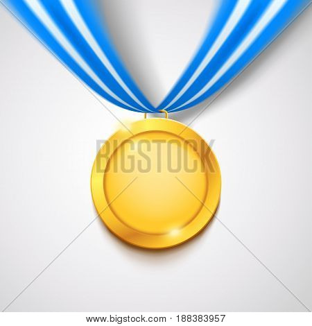 illustration of gold medal wit hblue white ribbon with soft shadow on bright background