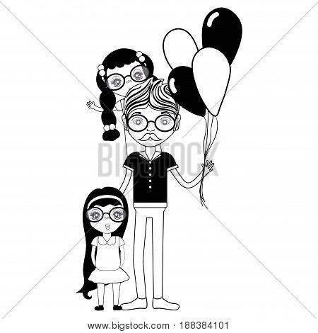 contour father with his daughters and balloons, vector illustration
