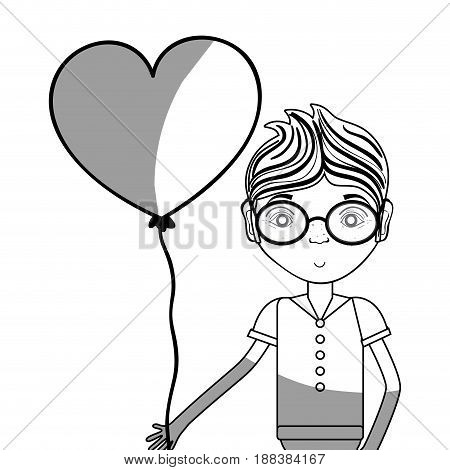line man with glasses and heart balloon in the hand, vector illustration
