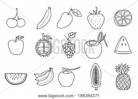 fruit icon set hand drawn vector art illustration