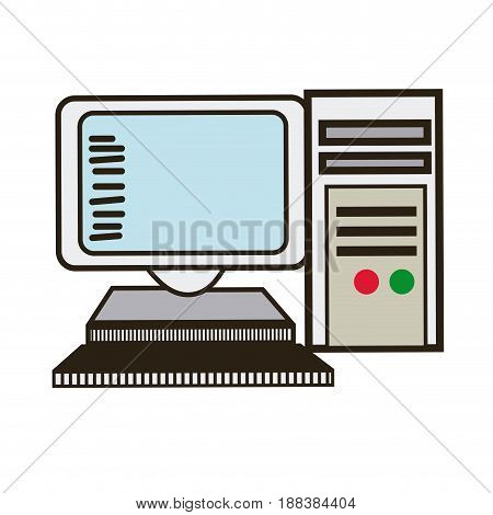 computer monitor keyboard processor tower image vector illustration
