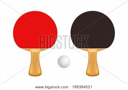 illustration of couple wooden ping pong rackets and ball isolated on white background