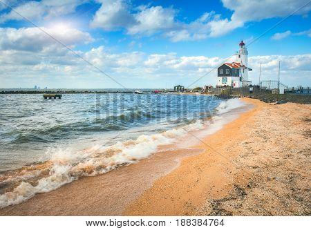 Beautiful Lighthouse On The Sea Coast