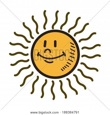 smiling sun cartoon character weather sign temperature vector illustration