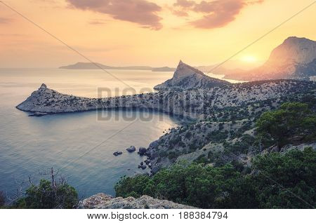Beautiful Sunrise In Mountains At The Sea