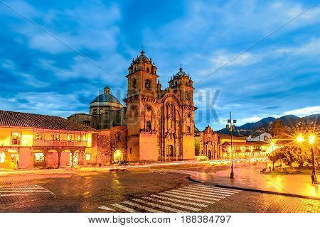 Cusco, Peru - Plaza De Armas And Church Of The Society Of Jesus